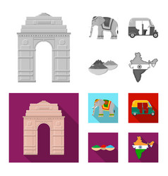 Country india monochromeflat icons in set vector