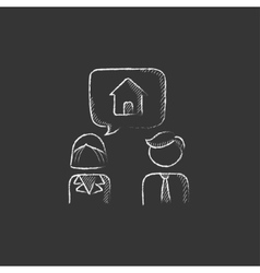 Couple dreaming about house Drawn in chalk icon vector