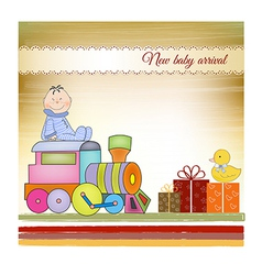 customizable birthday greeting card with train vector image