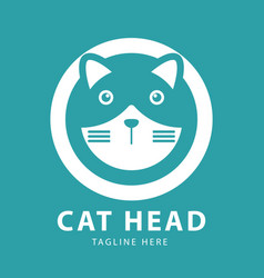 cute cat head logo circles design template vector image