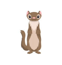 Cute otter animal cartoon character front view vector