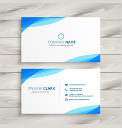 elegant blue white business card design vector image