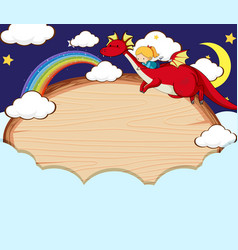 empty banner in night sky with fairy tale vector image