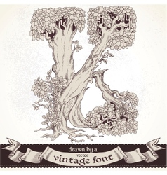 Fable forest hand drawn a vintage font - k vector