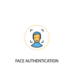 Face authentication concept 2 colored line icon vector