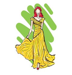 Fashion model sketch in yellow dress vector