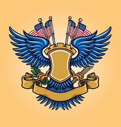 Flag american badge mascot logo with ribbon vector