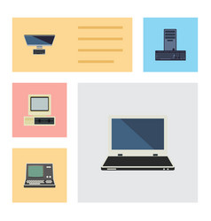 flat icon computer set of notebook technology pc vector image
