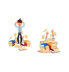 flat stressed exhausted man with books vector image