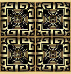 Gold 3d checkered ornamental greek seamless vector