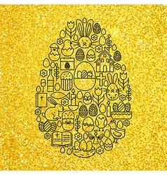 Gold and Black Happy Easter Line Icons Set Egg vector image