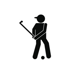 Golfer silhouette icon vector image