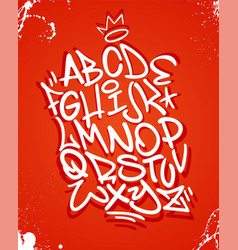 graffiti font alphabet on red vector image