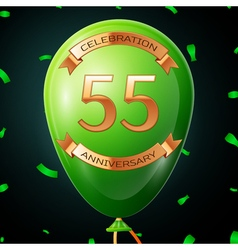Green balloon with golden inscription fifty five vector image