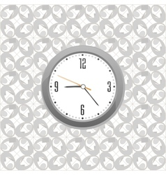 grey clock on wall pattern style background vector image