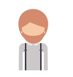 Half body faceless man with suspenders and beard vector