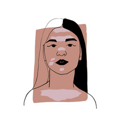 Hand-draw outline portrait a young woman vector