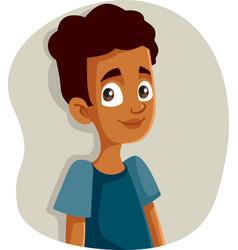 Happy smiling african teen boy vector