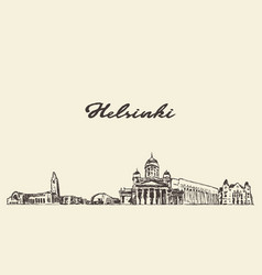 helsinki skyline finland city drawn sketch vector image