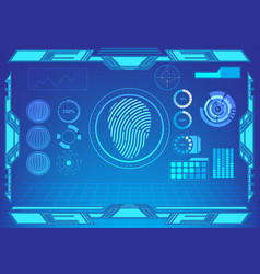 hud interface fingerprint and other panel vector image