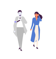 Human and android walking together flat vector