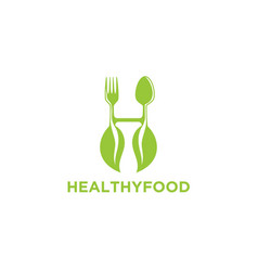 initial h healthy food logo designs inspiration vector image