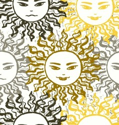 Ink hand drawn slavic sun seamless patttern vector
