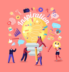 Inspiration creative idea tiny characters huge vector
