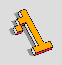 isometric 1 number vector image
