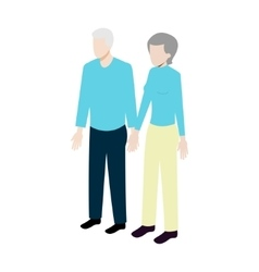 Isometric old couple vector