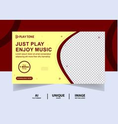 Just enjoy music web banner design vector