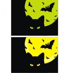 Kat bats and moon halloween vector