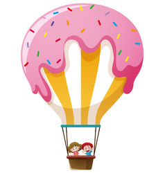 kids riding on candy balloon vector image