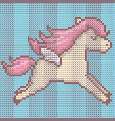 Knitted cute kawaii style pegasus vector
