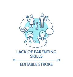 Lack parenting skills turquoise concept icon vector