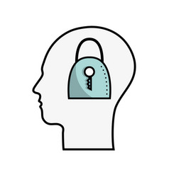 line silhouette head with padlock inside vector image