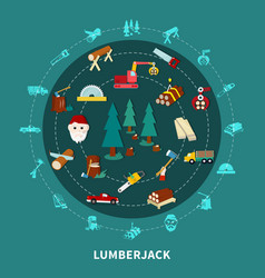 lumberjack round composition vector image