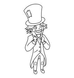 Mad hatter character coloring book vector