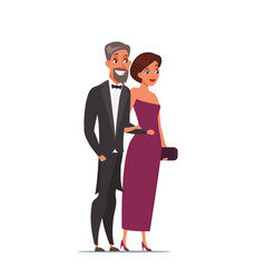 man and woman wearing luxury outfits characters vector image