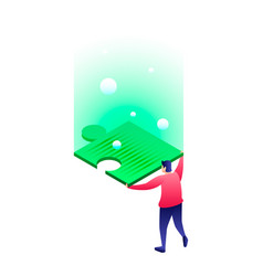 Man take puzzle icon isometric style vector