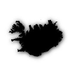 map of iceland with shadow vector image