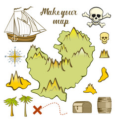 Map of island - game for kids with ship island vector