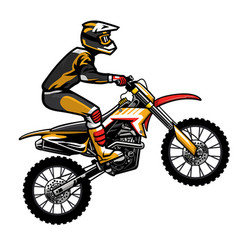 Motocross rider jumping vector