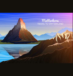 mountain matterhorn evening panoramic view of vector image