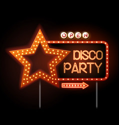 neon sign of disco star and neon text disco party vector image