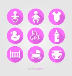 new baby girl logo set vector image