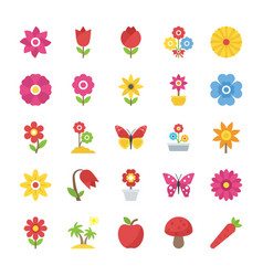Pack of natural beauty flowers flat vector