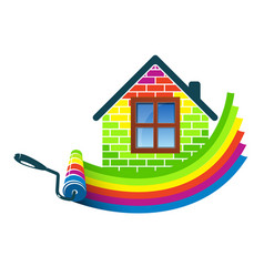 Paint roller home design vector