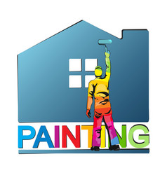 Painter paints house vector