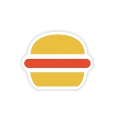 Paper sticker american burger on white background vector